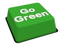 Go green button. Go green push button on white surface, environment and carbon credits concept Royalty Free Stock Photos