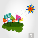 Go green city: sun, trees, and solar panels. Stock Photos