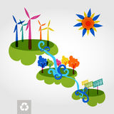 Go green city wind mills, trees, solar panels and curly waterfall. vector illustration