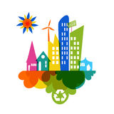 Go green colorful city recycle icon Royalty Free Stock Images