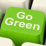 Go Green Computer Key Showing Recycling And Eco Friendly Royalty Free Stock Photo