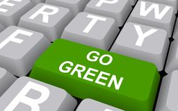 "Go green concept. Close-up of a computer keyboard with a ""go green"" key Stock Photos"