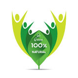Go green concept design. Creative go green and 100 percent natural concept design Stock Images