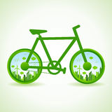 Go green concept - Eco cityscape in bicycle Stock Photography