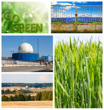 Go Green concept. Field of wheat and biogas plant. Royalty Free Stock Photos