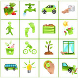 Go green concept icons. Vector illustration of GO GREEN concept: buy local produce, fix leaky faucets, carpool, turn off light, walk more, compost, dry clothes Royalty Free Stock Images