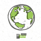Go Green Concept Poster With Earth. Vector Stock Photo