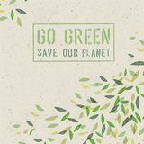 Go Green concept on recycled paper texture. Vector Royalty Free Stock Image