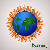 Go green design template. Environment vector illustration. Royalty Free Stock Photos