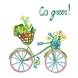 Go green eco card with bicycle and organic food Stock Photo
