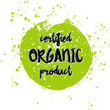 Go green Eco icon and bio sign on watercolor stain. Vector banner 100 natural organic food concept. Farm Fresh logo and Certified Organic Product emblem Royalty Free Stock Photo