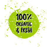 Go green Eco icon and bio sign on watercolor stain. Vector banner 100 natural organic food concept. Farm Fresh logo and Certified Organic Product emblem Stock Image