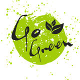 Go Green Eco icon with leaf, vector bio sign on watercolor stain Stock Photography