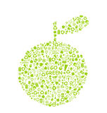Go green eco pattern on apple silhouette Stock Photo