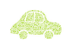 Go green eco pattern on car silhouette Royalty Free Stock Photo