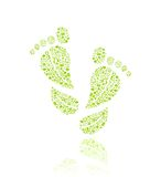 Go Green Eco Pattern in Foot Silhouette Royalty Free Stock Photo