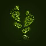 Go Green Eco Pattern in Foot Silhouette Royalty Free Stock Photos