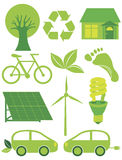 Go Green Eco Symbols Ilustration. Go Green Eco Symbols with Tree Recycle Leaf Footprint Bicycle Solar Panels Windmill Electric Car and Bulb Illustration stock illustration