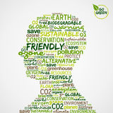 Go Green. Eco words cloud in man head shape stock illustration