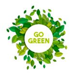 Go green ecology sign concept with tree leaves Royalty Free Stock Photography