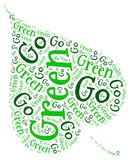 GO GREEN ECOLOGY. Word cloud go green ecology environment natural concept Stock Image