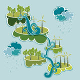 Go green energy concept. Go green energy industry sustainable development with environmental conservation background illustration. Vector file layered for easy Stock Image