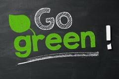 Go green!. Expression Go green! on blackboard Royalty Free Stock Photos