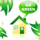 Go Green Glossy House. Royalty Free Stock Images