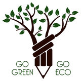 Go green go eco. A illustration of green and eco symbol Royalty Free Stock Images
