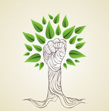 Go Green hand concept tree Stock Image