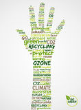 Go Green. Hand with words cloud Royalty Free Stock Image