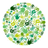 Go green hands circle royalty free illustration