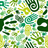 Go green hands seamless pattern Stock Images