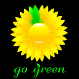 Go green icon. Sunflower with changing color petals Royalty Free Stock Images