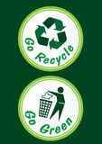 Go Green Icon. Go Recycle and Go Green round label Royalty Free Stock Image