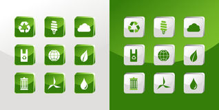 Go Green icons glass Royalty Free Stock Photography