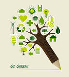 Go Green icons pencil tree Royalty Free Stock Image