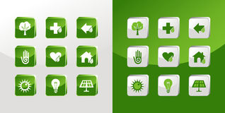 Go Green icons set Royalty Free Stock Photo