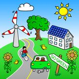 Go green landscape. Vector illustration of an environmentally friendly landscape vector illustration
