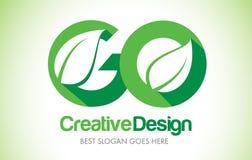 GO Green Leaf Letter Design Logo. Eco Bio Leaf Letter Icon Illus Stock Image