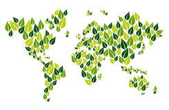 Go green leaf world map Stock Photos