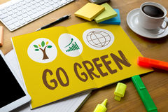 GO GREEN Life Preservation Protection Growth Project About Business Growth royalty free stock photo