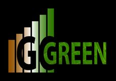 Go green logo. An illustrated go green logo with a chart in the background Royalty Free Stock Image