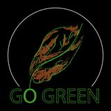 Go green logo. An illustration of a go green logo with bird`s feathers on a black background Stock Photos