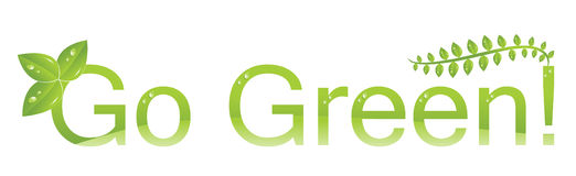 Go green logo (Protect the environment ). Go green fresh logo with fresh green leaves and water drops with protect the environment message Stock Photography