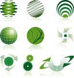 Go green logos. Nine go green corporate logos Stock Image