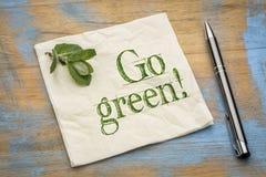 Go green message on napkin Royalty Free Stock Photo