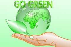 Go green Nature ecology organic concept with earth globe on hand Royalty Free Stock Image