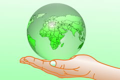 Go green Nature ecology organic concept with earth globe on hand Stock Photography