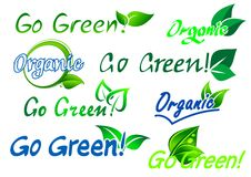 Go green organic labels. Set of colorful green and blue go green organic  labels with text and fresh green leaves isolated on white for any ecology design Royalty Free Stock Photos